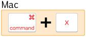 mac command+X