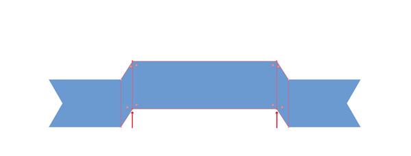 選択したアンカーポイントを上に移動します。図のように変形すればOKです。