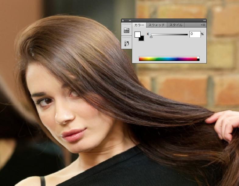 白の不透明度40%〜20%ブラシで髪の毛にツヤを入れていきます。