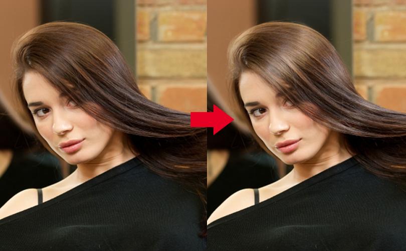 髪のツヤ加工をする前と加工をした後の女性