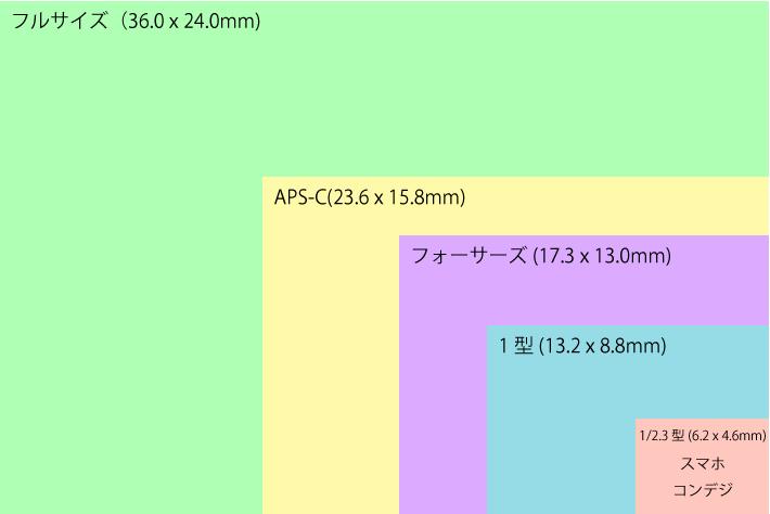 フルサイズからスマホまでのイメージセンサー大きさ比較図