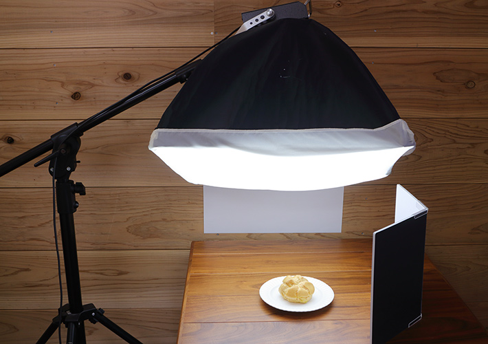 Lighting with a softbox (front view)