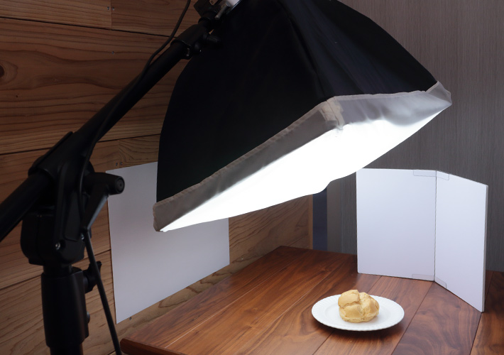 Lighting with softboxes (from an angle)