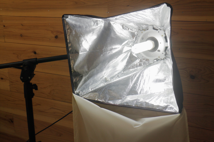A softbox with a fluorescent light in it