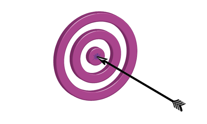 3D target and arrow illustration